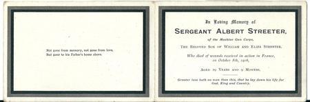 Memorial card for Albert Streeter