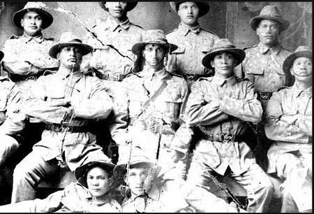 Group portrait of members of the Maori Contingent.