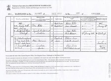 Adam Millar and Ada Turner marriage entry 1915