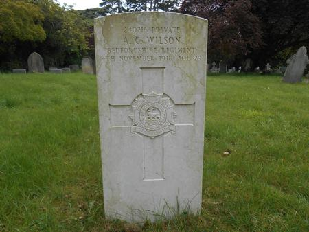 Albert Charles Wilson, Headstone, Trumpington