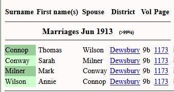 1913 FreeBMD marriage snip