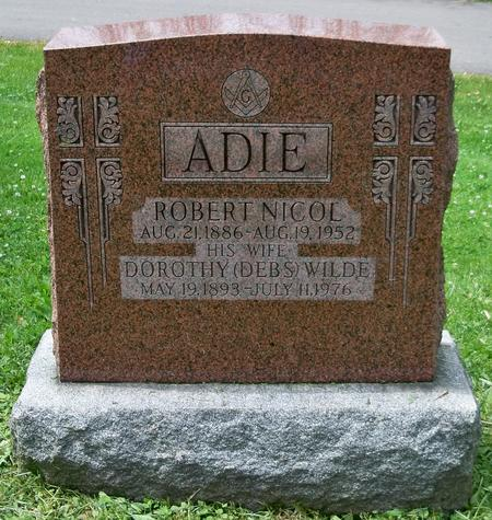 Grave marker for Robert Nicol Adie and his wife.