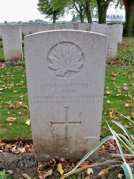 Gravestone for Allan Adie.