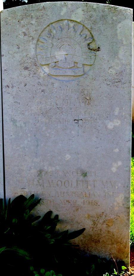 Grave stone for F.N.M. Woolfitt
