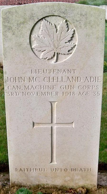 Grave stone for Lt. John McClelland Adie.