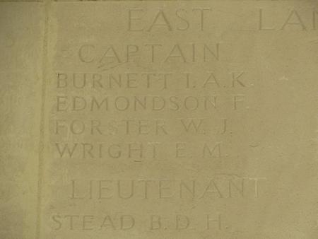 Captain Burnett's name on the Arras Memorial