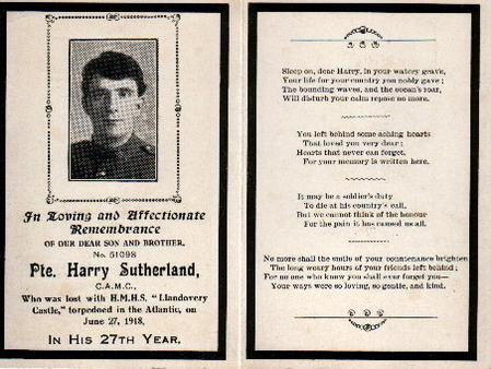 Notification of Harry Sutherland's death