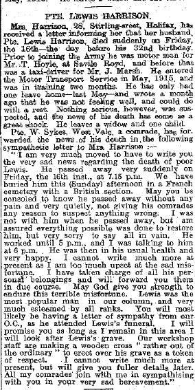 Obituary in local paper