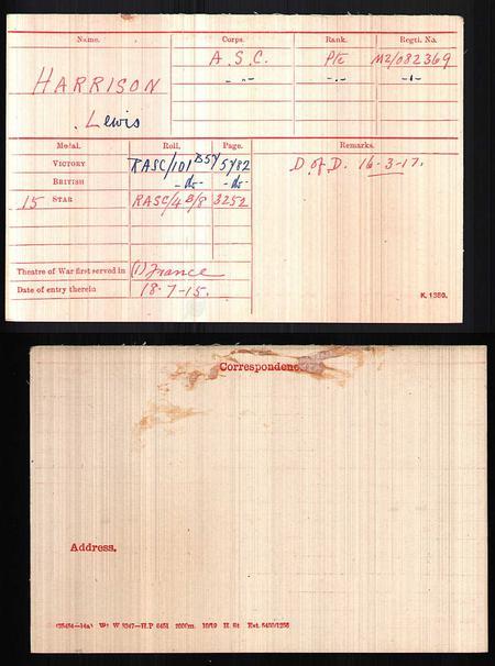 Medal Index Card for Lewis Harrison