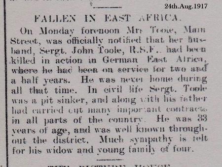 FALLEN IN EAST AFRICA