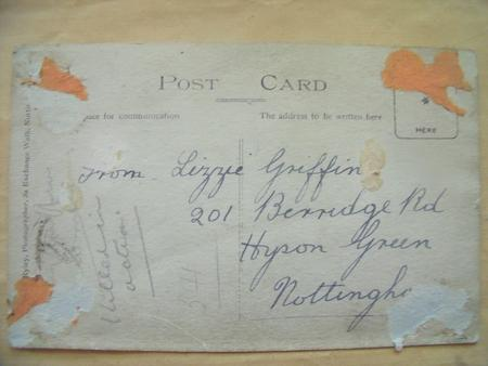 Post Card sent to Private Harry Griffins Parents