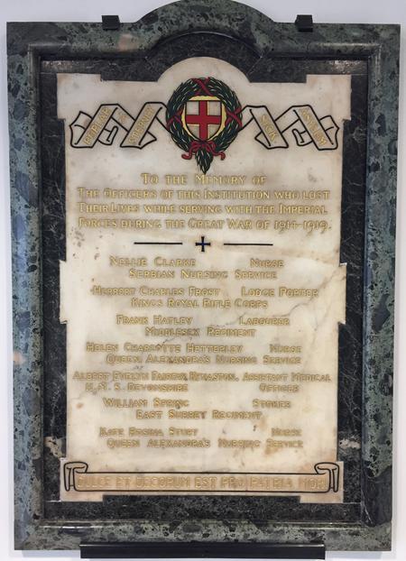 Poplar and Stepney Sick Asylum memorial plaque
