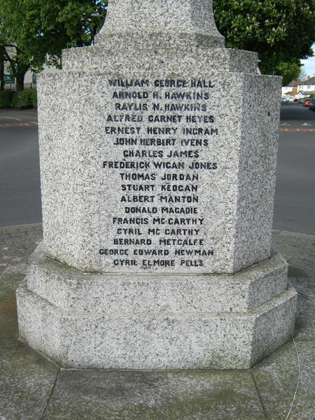 Close up of the War Memorial.