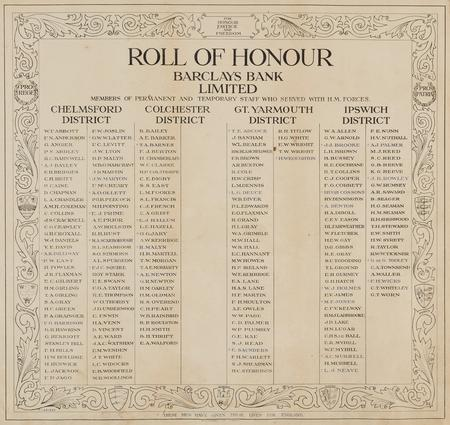 Barclays Bank Eastern Districts Roll of Honour