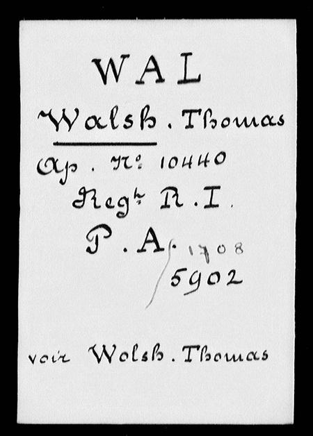 Lce Cpl Walsh's POW index card