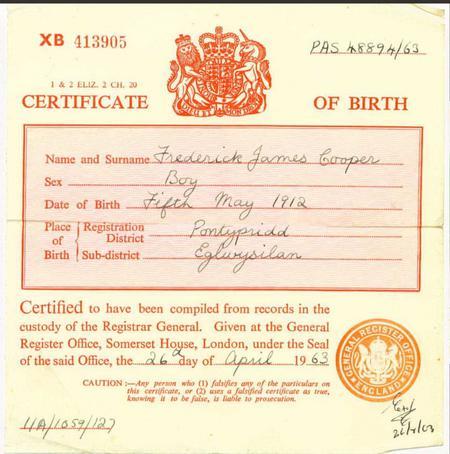 Birth Certificate of son Frederick in Pontypridd,