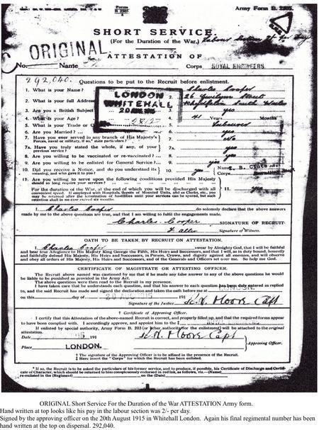 Short Service Attestation copy from Service Record