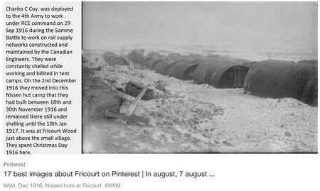 Fricourt WW1 Nissen Army Camp. December 1916.