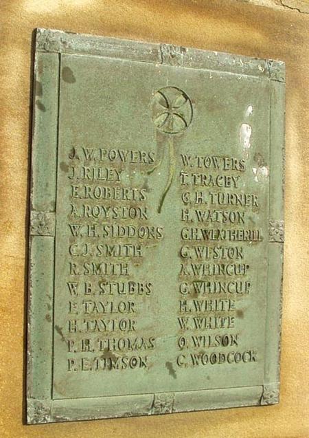 Panel on Royston War Memorial showing P E Timson