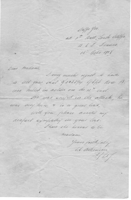 Letter confirming death of Bertie Rose