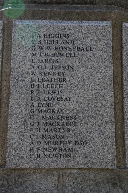 Honeyball's panel on the Wimbledon Common memorial