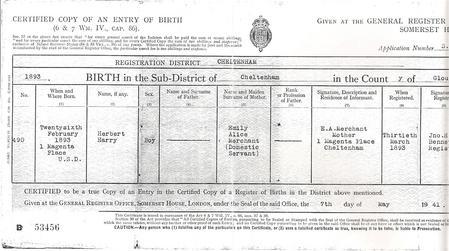 George Smith Birth Certificate