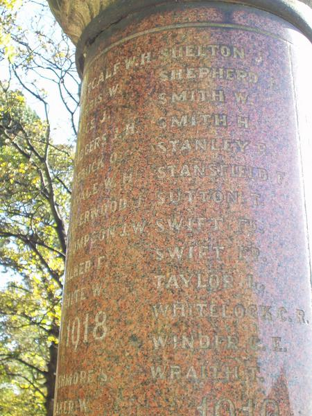 Fred Stansfield's name on Worbro' War Memorial