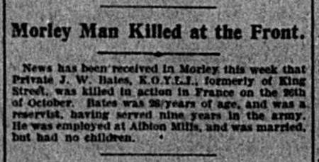 Article describing the death of John William Bates