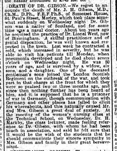 Newspaper article describing the Gibson family