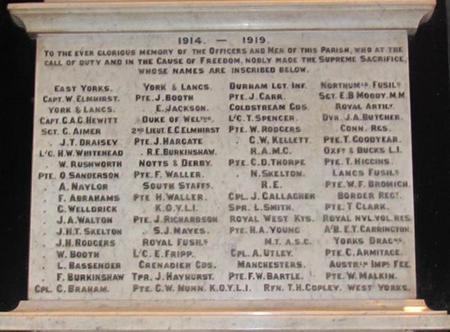 Names on War Memorial St Mary's Worsborough