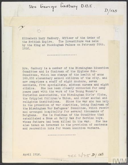 Mrs Elizabeth Mary Cadbury - biographical notes