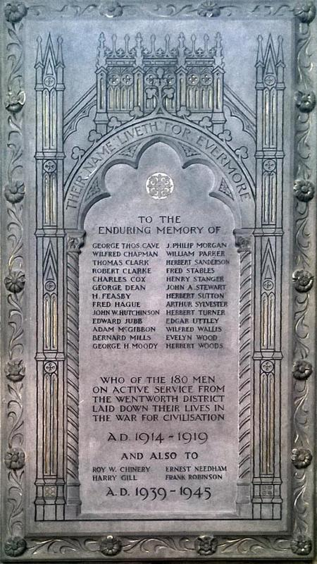 WW1and2 Memorial plaque from Wentworth Church