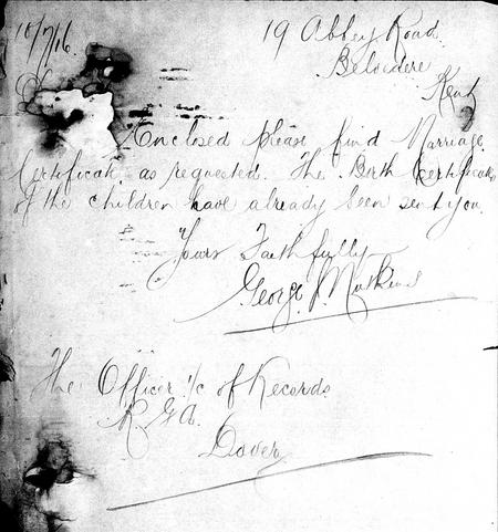 An Example of George John Nutkins' Writing