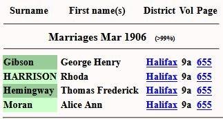 1906 FreeBMD marriage