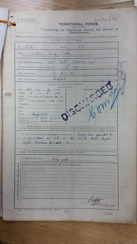 Copy of discharge paper from Cheshire Regt.