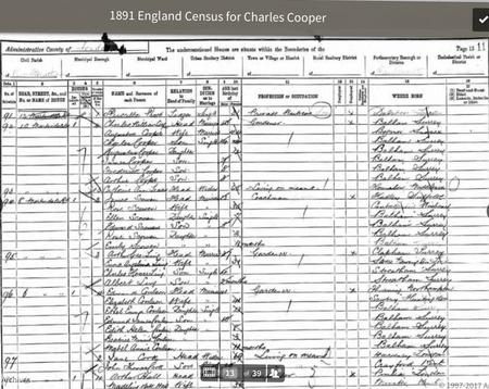 1891 Census for the Cooper family.