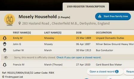 1939 Register for Moseley Family Chesterfield