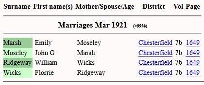 1921 FreeBMD marriage Emily Marsh to John Moseley