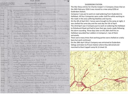 War Diary and map of Ouderdom Station Camp.