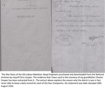 War Diary Cover and Extract Page.
