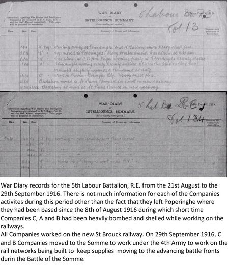 War Diary. 5th Battalion at St Pierre Brouck.