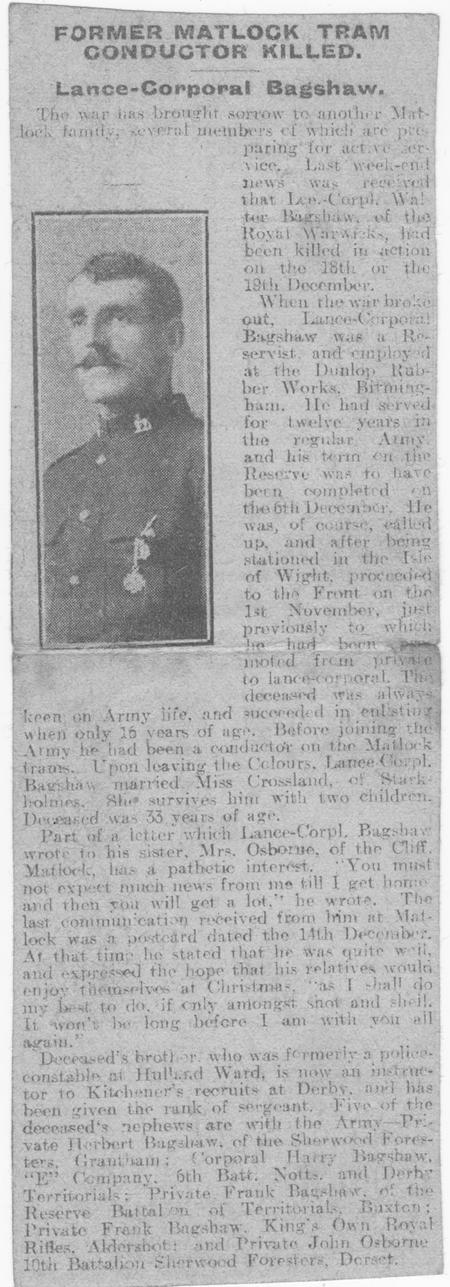 Walter BAGSHAW - obituary (William mentioned)