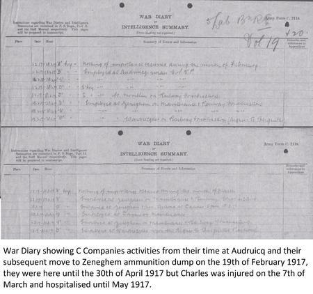 War Diary of C Company move to Zeneghem. Feb 1917.