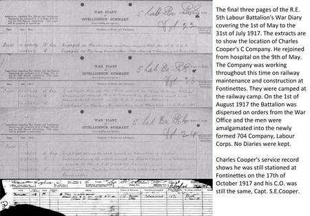 Final Diary and Service Records Of C Company.