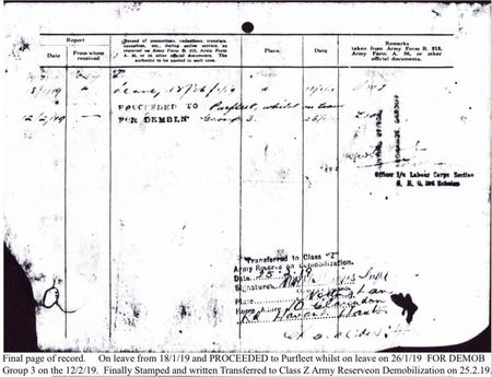 Demobilisation page from Service Records.