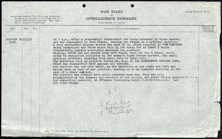 War Diary The Buffs (East Kent) 6th Battalion