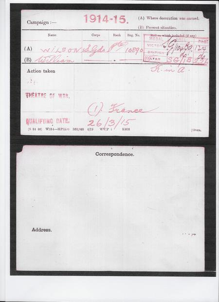 Medal Index Card of Private William Wilson