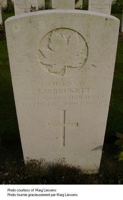 Grave Marker Lt. J M Beckett