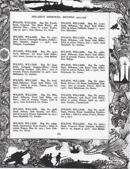 Irelands Memorial Records 1914 to 1918 (page 359).