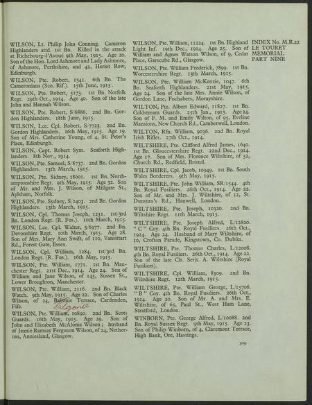 Private William Wilson CWGC Information.